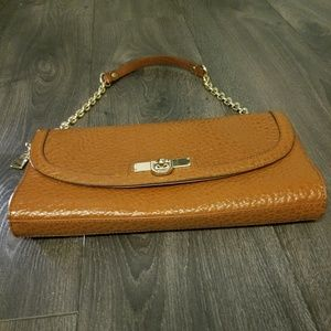 DNKY Genuine Leather Clutch with Hand Strap